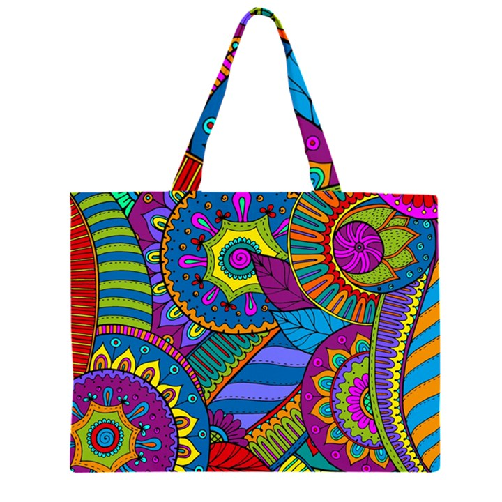 Pop Art Paisley Flowers Ornaments Multicolored Large Tote Bag
