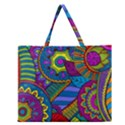 Pop Art Paisley Flowers Ornaments Multicolored Zipper Large Tote Bag View1