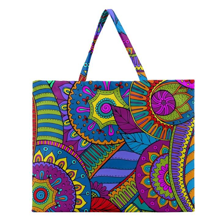 Pop Art Paisley Flowers Ornaments Multicolored Zipper Large Tote Bag