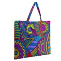 Pop Art Paisley Flowers Ornaments Multicolored Zipper Large Tote Bag View2