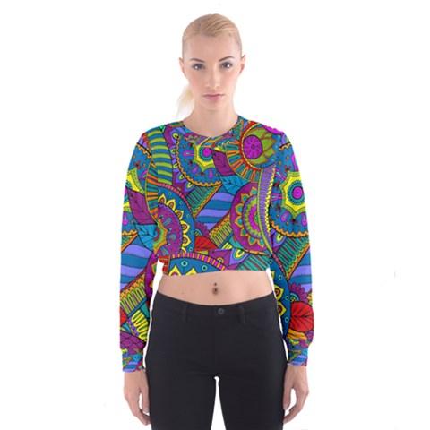 Pop Art Paisley Flowers Ornaments Multicolored Women s Cropped Sweatshirt