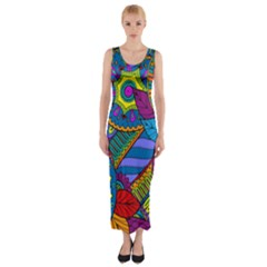 Pop Art Paisley Flowers Ornaments Multicolored Fitted Maxi Dress
