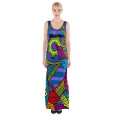 Pop Art Paisley Flowers Ornaments Multicolored Maxi Thigh Split Dress