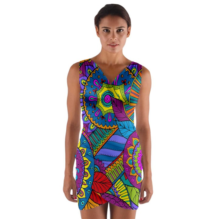 Pop Art Paisley Flowers Ornaments Multicolored Wrap Front Bodycon Dress