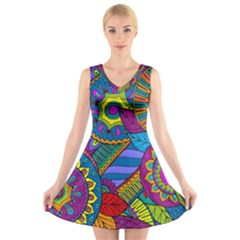 Pop Art Paisley Flowers Ornaments Multicolored V Neck Sleeveless Skater Dress