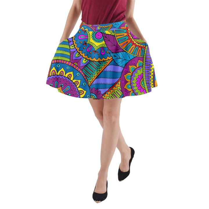 Pop Art Paisley Flowers Ornaments Multicolored A-Line Pocket Skirt