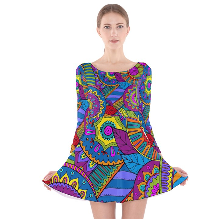 Pop Art Paisley Flowers Ornaments Multicolored Long Sleeve Velvet Skater Dress