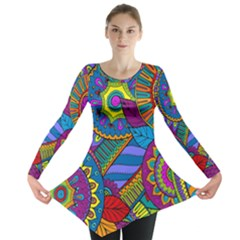 Pop Art Paisley Flowers Ornaments Multicolored Long Sleeve Tunic