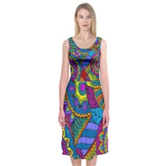 Pop Art Paisley Flowers Ornaments Multicolored Midi Sleeveless Dress