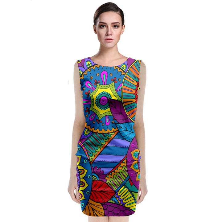 Pop Art Paisley Flowers Ornaments Multicolored Classic Sleeveless Midi Dress