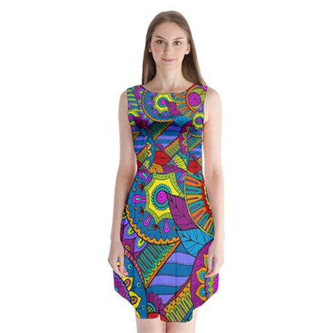 Pop Art Paisley Flowers Ornaments Multicolored Sleeveless Chiffon Dress