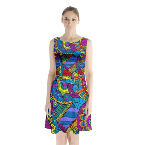 Pop Art Paisley Flowers Ornaments Multicolored Sleeveless Chiffon Waist Tie Dress