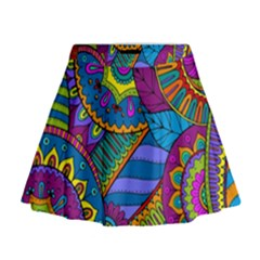 Pop Art Paisley Flowers Ornaments Multicolored Mini Flare Skirt