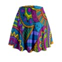 Pop Art Paisley Flowers Ornaments Multicolored Mini Flare Skirt View2
