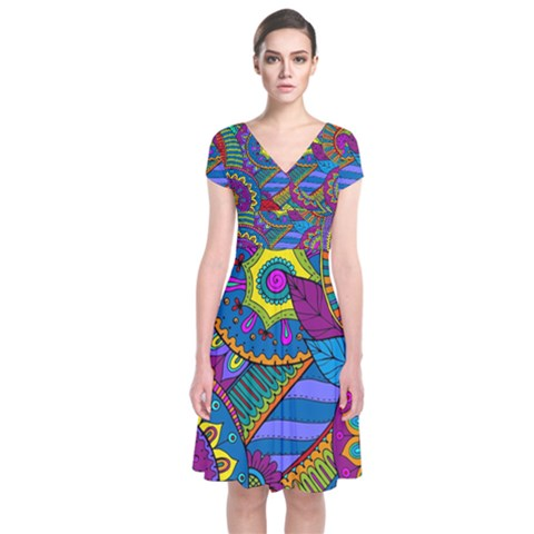 Pop Art Paisley Flowers Ornaments Multicolored Short Sleeve Front Wrap Dress