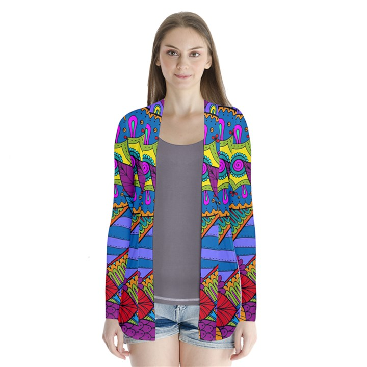 Pop Art Paisley Flowers Ornaments Multicolored Drape Collar Cardigan