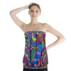 Pop Art Paisley Flowers Ornaments Multicolored Strapless Top