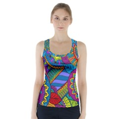 Pop Art Paisley Flowers Ornaments Multicolored Racer Back Sports Top