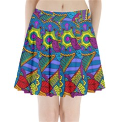 Pop Art Paisley Flowers Ornaments Multicolored Pleated Mini Skirt