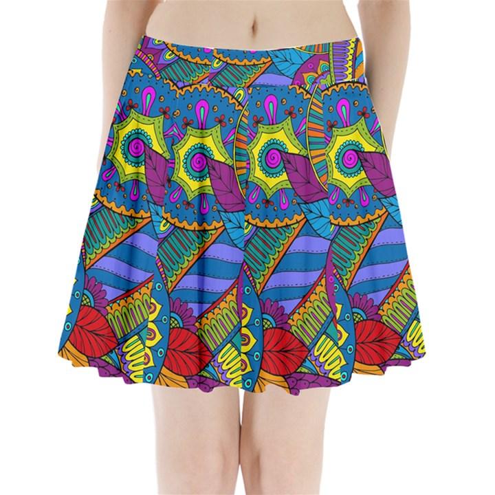 Pop Art Paisley Flowers Ornaments Multicolored Pleated Mini Skirt