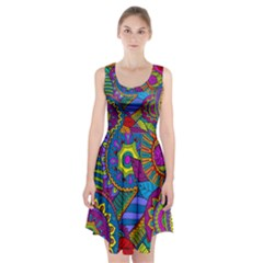 Pop Art Paisley Flowers Ornaments Multicolored Racerback Midi Dress