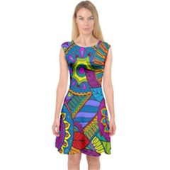 Pop Art Paisley Flowers Ornaments Multicolored Capsleeve Midi Dress