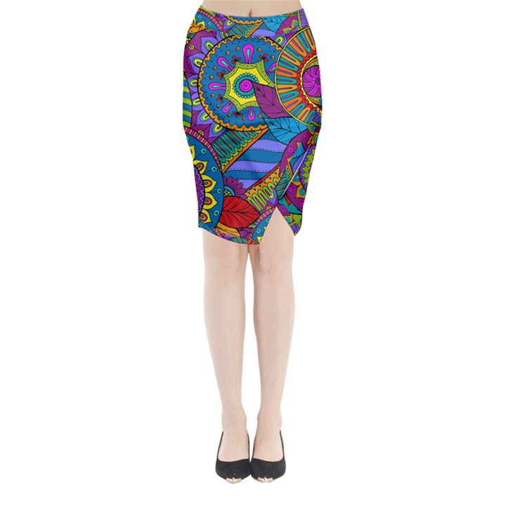 Pop Art Paisley Flowers Ornaments Multicolored Midi Wrap Pencil Skirt