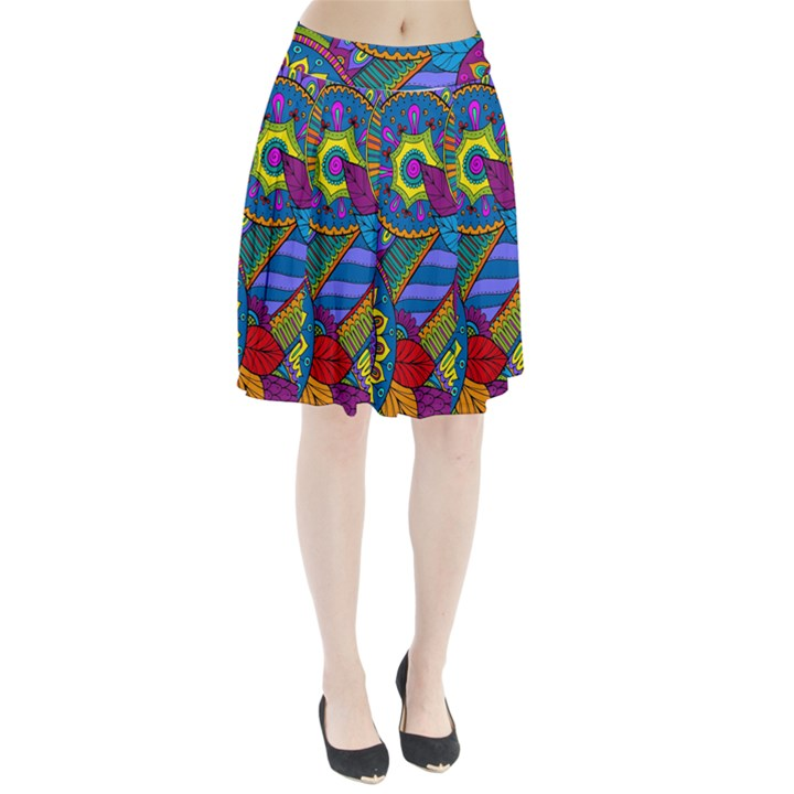 Pop Art Paisley Flowers Ornaments Multicolored Pleated Skirt