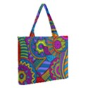 Pop Art Paisley Flowers Ornaments Multicolored Medium Zipper Tote Bag View2