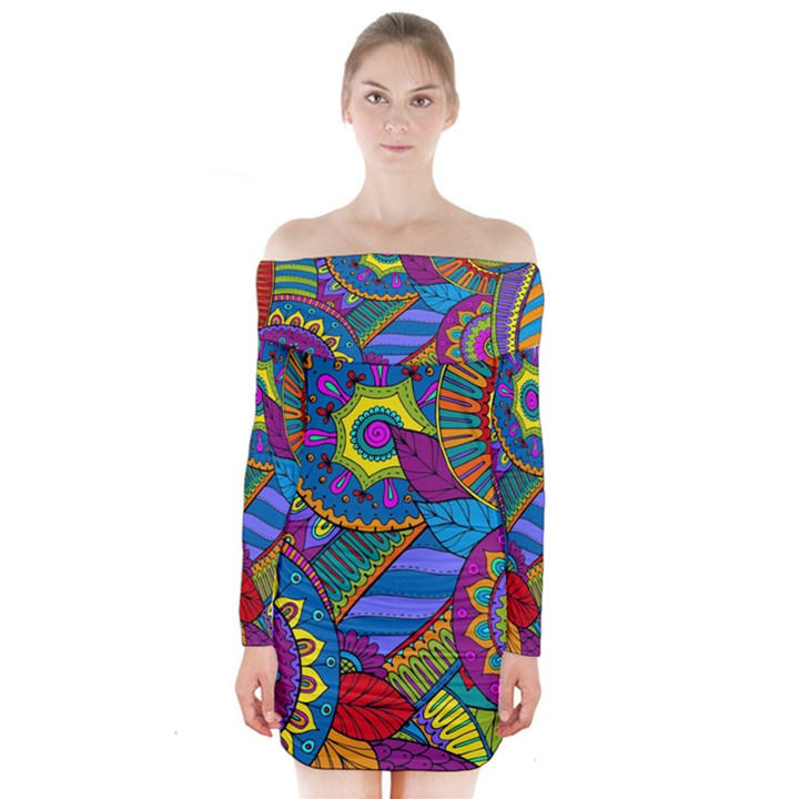 Pop Art Paisley Flowers Ornaments Multicolored Long Sleeve Off Shoulder Dress