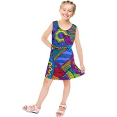 Pop Art Paisley Flowers Ornaments Multicolored Kids  Tunic Dress