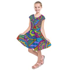 Pop Art Paisley Flowers Ornaments Multicolored Kids  Short Sleeve Dress