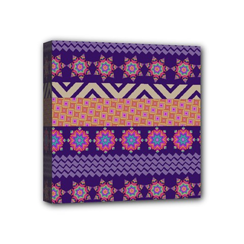 Colorful Winter Pattern Mini Canvas 4  X 4