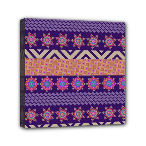 Colorful Winter Pattern Mini Canvas 6  X 6