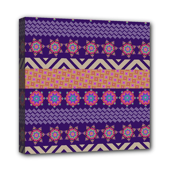 Colorful Winter Pattern Mini Canvas 8  x 8