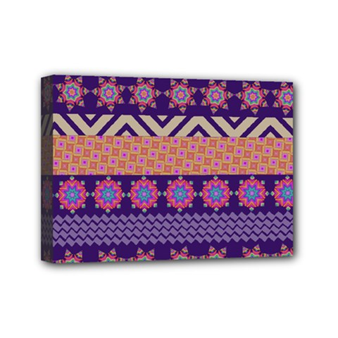 Colorful Winter Pattern Mini Canvas 7  X 5