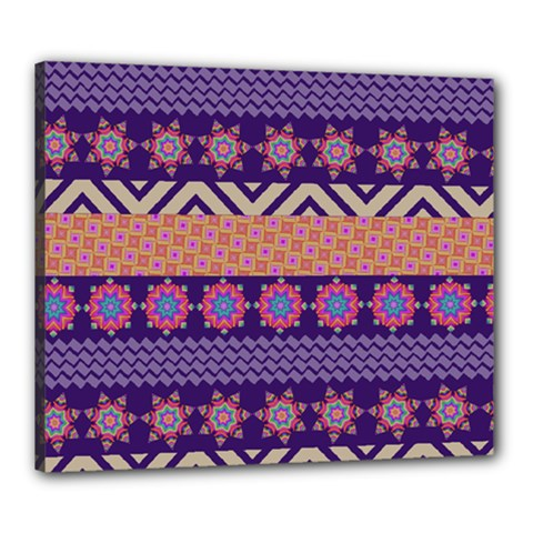 Colorful Winter Pattern Canvas 24  x 20