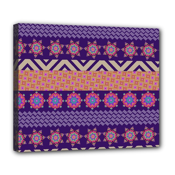 Colorful Winter Pattern Deluxe Canvas 24  x 20