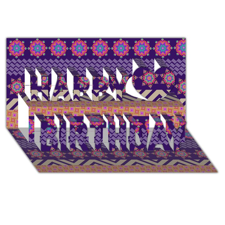 Colorful Winter Pattern Happy Birthday 3D Greeting Card (8x4)