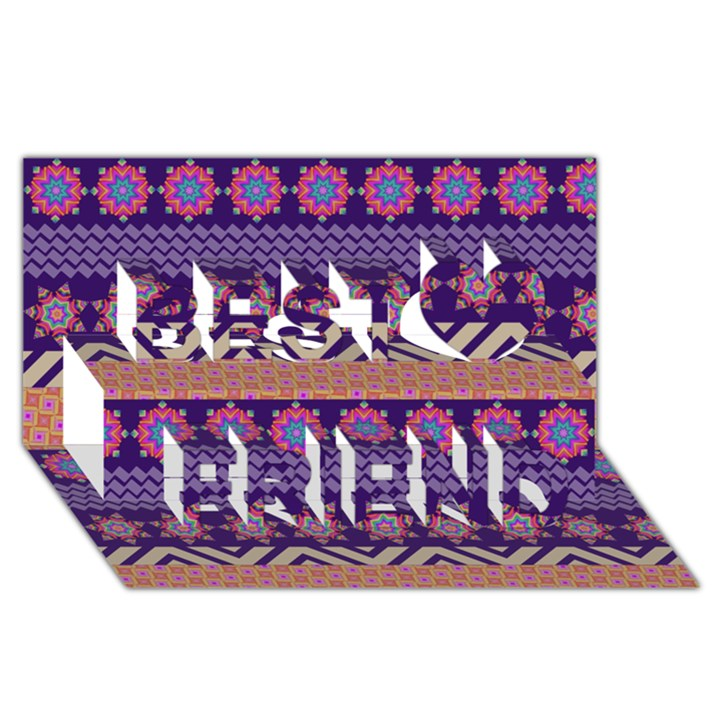 Colorful Winter Pattern Best Friends 3D Greeting Card (8x4)