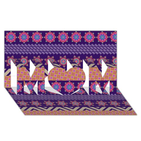 Colorful Winter Pattern MOM 3D Greeting Card (8x4)