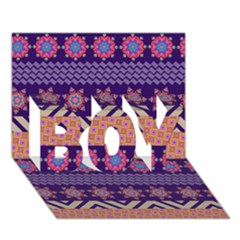 Colorful Winter Pattern BOY 3D Greeting Card (7x5)