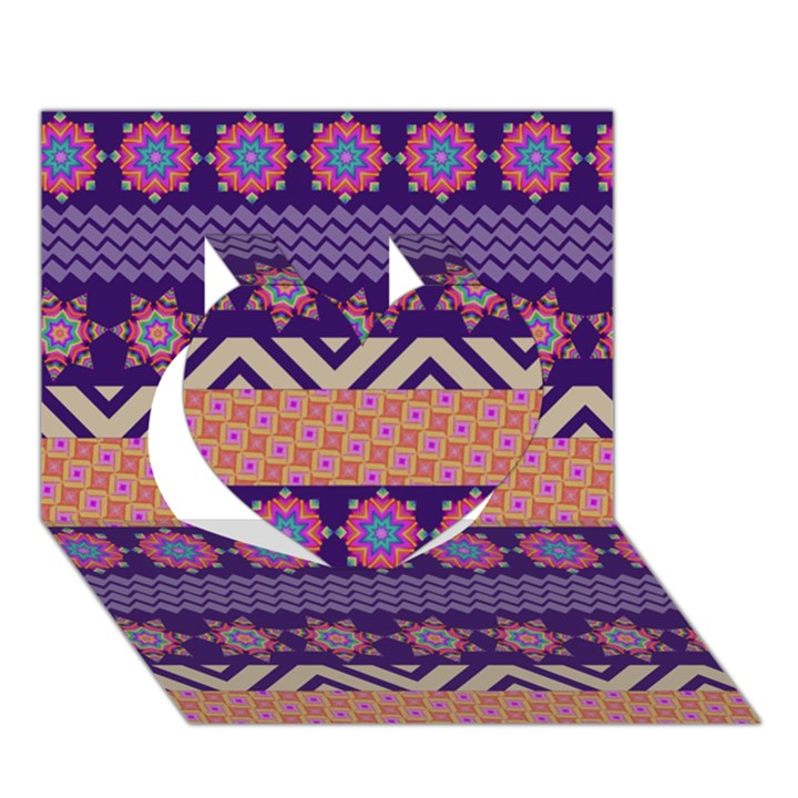 Colorful Winter Pattern Heart 3D Greeting Card (7x5)