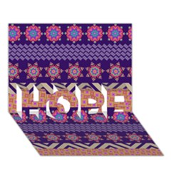 Colorful Winter Pattern HOPE 3D Greeting Card (7x5)