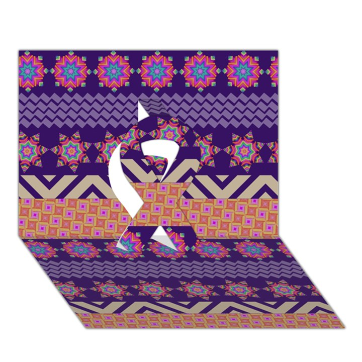 Colorful Winter Pattern Ribbon 3D Greeting Card (7x5)
