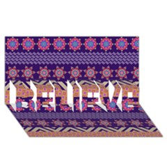 Colorful Winter Pattern Believe 3d Greeting Card (8x4)