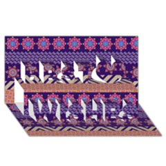 Colorful Winter Pattern Best Wish 3D Greeting Card (8x4)