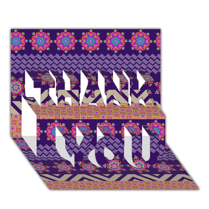 Colorful Winter Pattern THANK YOU 3D Greeting Card (7x5)