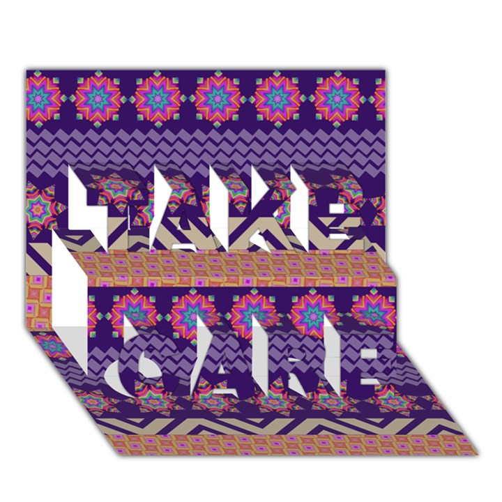 Colorful Winter Pattern TAKE CARE 3D Greeting Card (7x5)