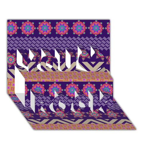 Colorful Winter Pattern You Rock 3D Greeting Card (7x5)